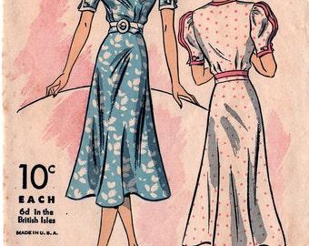 Original 1937 DUBARRY Pattern #1676B MISSES' DRESS Size 16 B34 Vintage Sewing
