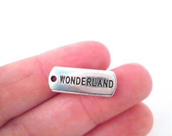 "10 Silver Plated ""Wonderland"" Charms, Alice in Wonderland Charms G79"