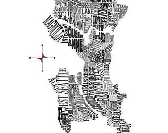 "Seattle Neighborhood Map 11 x 14"" Print"