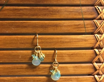 Chalcedony Peridot Apatite & Gold Dangle Earrings
