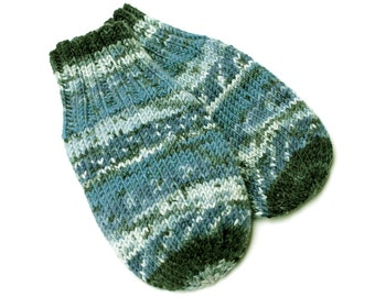 Vegan Thumbless Blue Baby Mittens. Hand Knit No Thumb Cordless Baby Mitts. Winter Mittens on String. Infant 9 to 12 Months Hand Warmers