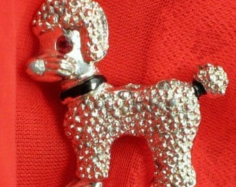 SaLe PoodLe Dog Vintage Brooch Pin Rhinestone Red Eye Curly Fur Mid Century Dimensional 1960s Figural Embossed Kitchy Cottage Chic Silver