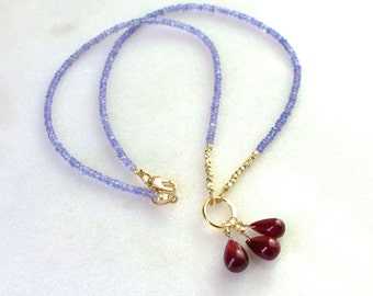 Terribly Chic Tanzanite, Ruby Drop, Everyday Necklace in 22kg Vermeil...
