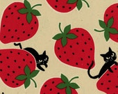 HALF YARD Kokka - Strawberry Cats on Tan - Ecole Big - Cotton Oxford - Japanese Import - 43400-401A