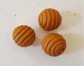 Gold Round Polymer Clay Coil Beads/ Set Of Three/ Gold Shimmer/Handmade Beads/ Jewelry Supplies/ Sculpey Clay Beads