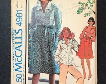 Vintage McCall's 4981  Pattern Blouse and Wrap Skirt