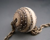 Naos Glass Urchin Focal Made To Order Handmade Lampwork Bead SRA Artisan Glass Bead Cream Ivory Sable Caramel Fine Silver Dots