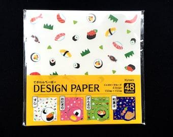 Japanese  Paper - Origami Paper - Japanese Food Paper - Sushi - Onigiri - Donburi - Sweets - 4 Patterns 48 Sheets 15 x 15 cm