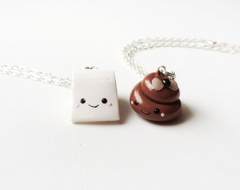 Kawaii Funny Poop and Toilet Paper Smiling Best Friends Necklace Set