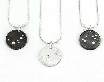 Full Moon Pendant Necklace, Sterling Silver Astronomy Necklace Gift For Her