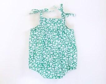 girls green floral romper