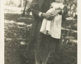 vintage photo 1920 Jeanette Little Sailor Girl Holds Beautiful Baby doll