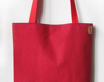 ON SALE Chasing Light // Apple Red Canvas and Tropical Floral Print Tote Bag