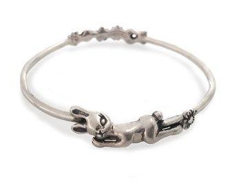 Bunny Bracelet Kids   bangle rabbit jewelry silver gold flowers children kidS