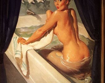 ELVGREN Sale JEEPERS PEEPERS Original Painting Pin-Up Bath Nude by Vancas Tub BathRoom Midcentury Bubble Bath Pinup