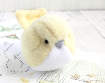 Pastel Yellow Fleece Bird Stuffed Animal Childrens Handmade Plush Toy Cute Fat Bird