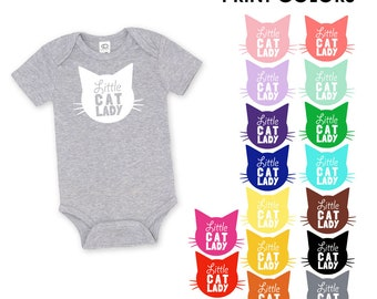 Little Cat Lady Organic Cotton One Piece Romper - Cat Mom, Baby Shower Gift, Cat Lover, Cat People, Expecting, Matching, Mommy and Me, Meow