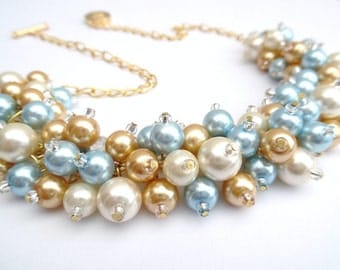 Set of 9 Necklaces with Earrings, Pale Blue Pearl Wedding Jewelry, Chunky Pearl Necklace, Ivory Gold and Blue, Cluster Bridesmaid Jewelry