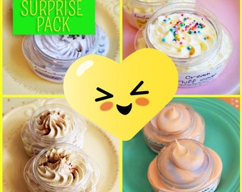 Blooper Mystery Surprise Whipped Soap 4 ounce Jars Pack - Soap Sale, Clearance Soap, Grab Bag Soap, Try it Soaps, Surprise Set, Cream Fluff