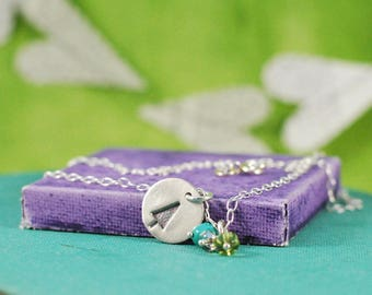 Tree Necklace with Czech Glass Beads, Ready to Ship  {Hand Stamped PMC 960 + Sterling Silver}