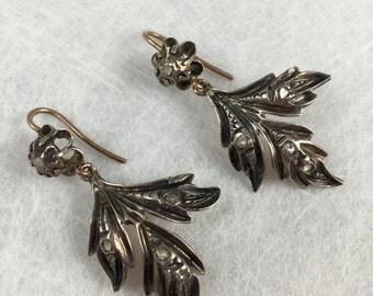 Victorian Georgian circa 1830's Unique GIARDINETTI Antique ROSE CUT Diamond Earrings, Georgian jewelry, Victorian jewelry, Unique antique