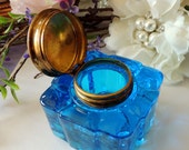 Antique PEACOCK Blue Glass Ink well - Gorgeous