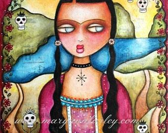 The Frida Lisa, Girl Art Print, Whimsical Art, Mexican Art, Day of the Dead, Watercolor Mixed Media 8 x 10, 5 x 7, Mona Lisa parody
