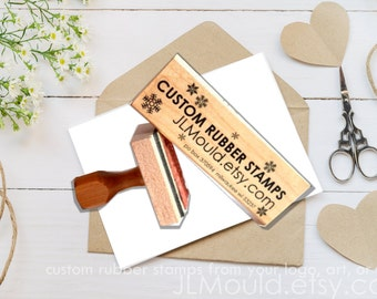 ALL SIZES - JLMould Custom Personalized Wooden Block Red Rubber Stamp with or without Handle Logo Business Wedding