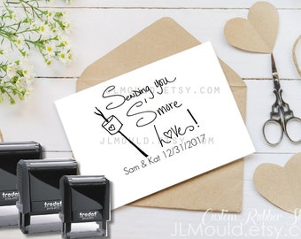 0323 Self Inking Rubber Stamp JLMould  Smores Smore Campfire Save the Date RSVP Card Wedding Invitations Personalized Custom