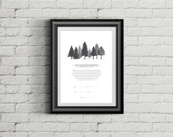 Printable Ketubah Pine Trees Marriage Certificate
