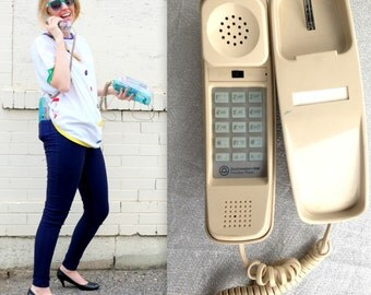 1980's White Landline Phone / Dial Up Telephone / Retro Cord Wall Phone House Telephone Gift for Teenager Teen Punch pad buttons Beige Tan