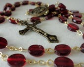"Vintage 26"" ROSARY Flat Red Garnet Plastic Bead Goldtone Chain Bronze Cross St Therese Pray for Us Lucite Bead Crucifix Necklace Religious"