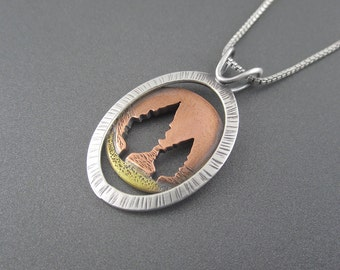 Handmade Red Autumn Conifer Mixed Metal Sterling Silver, Brass and Copper Pendant