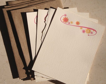 Letterpress notecards with starburst and swash motif, four cards and matching envelopes