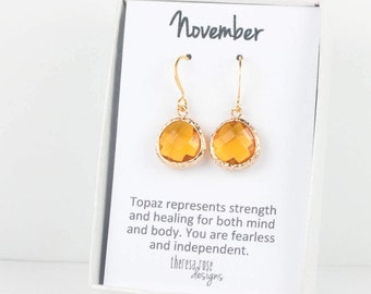 November Birthstone Topaz Quartz Gold Earrings, Topaz Gold Dangle Earrings, November Birthday Gift, Gold Earrings, Birthstone Jewelry #807