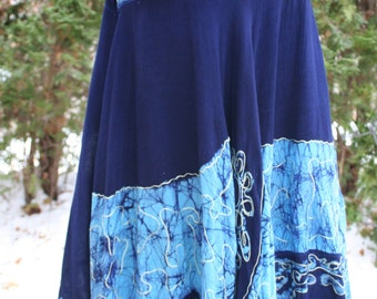 Blue batik hippie V neck swing dress India rayon embroidered