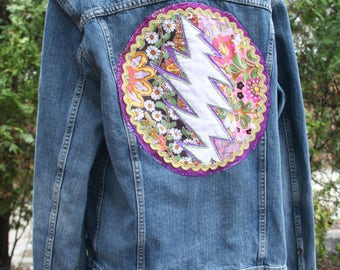 Levi's Steal Your Face jean jacket Grateful Dead coat back patch embroidered Deadstock hippie denim