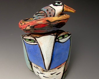 "Owl art, sculpture, handmade ceramic owl art,""Owl Person and Nesting Beauty Bird.  Love is All, 7-3/4"" tall"