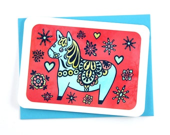 Dala Horse Greeting Card, Scandinavian Holiday Card, Swedish Horse Card, Holiday Greetings, Season's Greetings, Funny Christmas Card