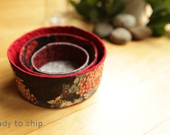 quilted fabric nesting bowls - Chrysanthemum Kimono - ready to ship