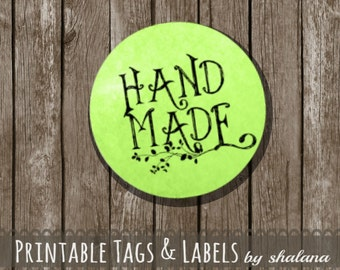 "Printable PDF 1.5 inch Circle Labels - Whimsical ""Hand Made"" Text on GREEN Watercolor Style Background - Great for Craft Shows and Gifts"