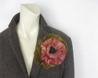Felted Flower Brooch, Flower Felt Pin, Brooch Flower, Pink Felt Flower, Felt Pin, Flower Brooch, Floral Jewellery, Pin Brooch, Gift For Her