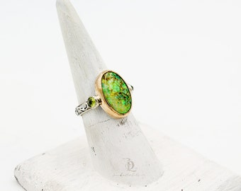 Size 6.25, 14kt GoldFilled and Opal Ring // Lab Created Opal, Peridot, Gemstone in Sterling Silver Pendant Necklace by Bellalili