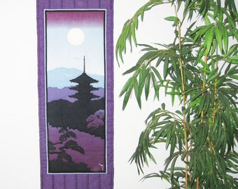Quilted Wall Hanging Kyoto Pagoda Japanese Asian Design Tenugui Scroll Size
