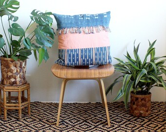Pink and Indigo Dye, Pillow Cover,Nigerian Baoule Pillow, African Mud Cloth, Cotton Linen Pillow, 20 inch throw pillow, Bohemian Decor