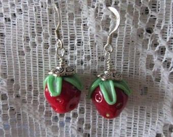 Fruit Earrings ~ Strawberry Earrings ~ Red Earrings ~ Lampwork Glass Earrings ~ Sterling Silver Earrings ~ Summer Jewelry ~ Gift for Women
