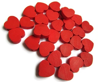 30 19mm Red Heart Beads Wooden Beads Loose Beads Flat Heart Beads Wood Beads 19mm Beads Top Drilled Beads For Jewelry Making Valentine Gift
