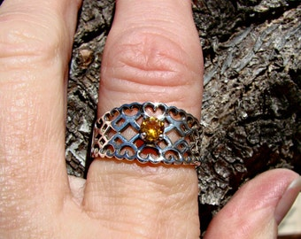 70% OFF Going Out of Business Sale.. ..Laced Hearts with Genuine golden 4mm topaz- Sterling Silver Ring. Size 7.25