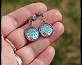Opal Pearl Shine Dragon Mermaid Scale Stud Earrings - Ready to Ship - Cosplay Scales Fish Fantasy Gothic Fairy Ariel Kawaii Holographic
