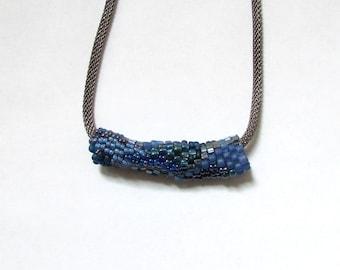 Blue Freeform Pendant - Blue Peyote Tube - Blue Slide Necklace - Blue Beaded Necklace - Beaded Freeform Peyote Necklace
